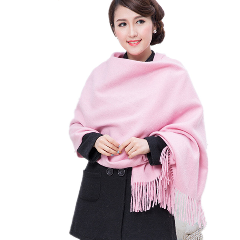 Pink 100% Wool South Korea Solid Style Shawl Fashion Thick Winter New Women's Elegant Scarf Christmas Gift Size 70 X 200CM