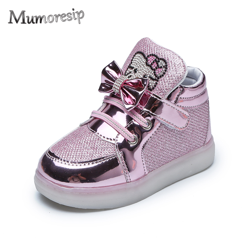 0dd4a41f12db Detail Feedback Questions about Mumoresip Kids Shoes Children Glowing  Sneakers Baby Girls Hello Kitty Shoes LED Light Luminous Shoes Rhinestone  With Bow ...