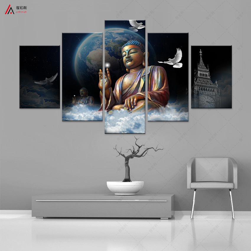 5 프레임이없는 아름다운 부처님 불교 그림 현대 미술 Cuadros 홈 장식 벽 예술 캔버스 인쇄 거실
