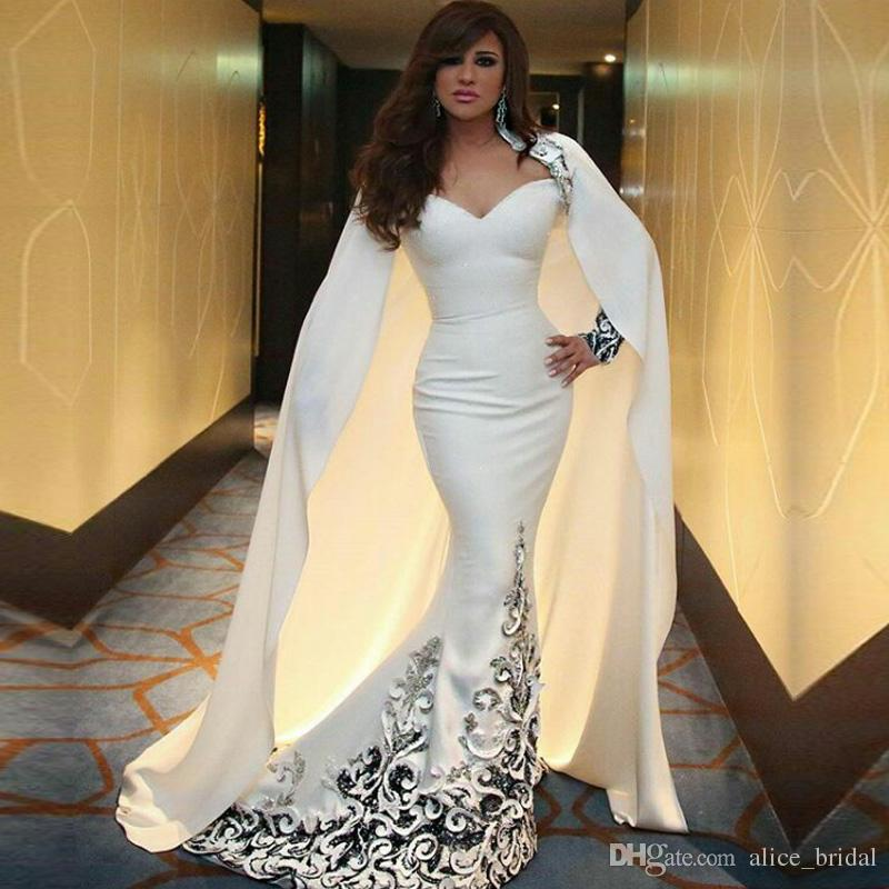 79c87c83c08 White Saudi Arabic Evening Dresses Mermaid Long Sleeve With Wrap Embroidery  Celebrity Prom Party Gown African Formal Dress