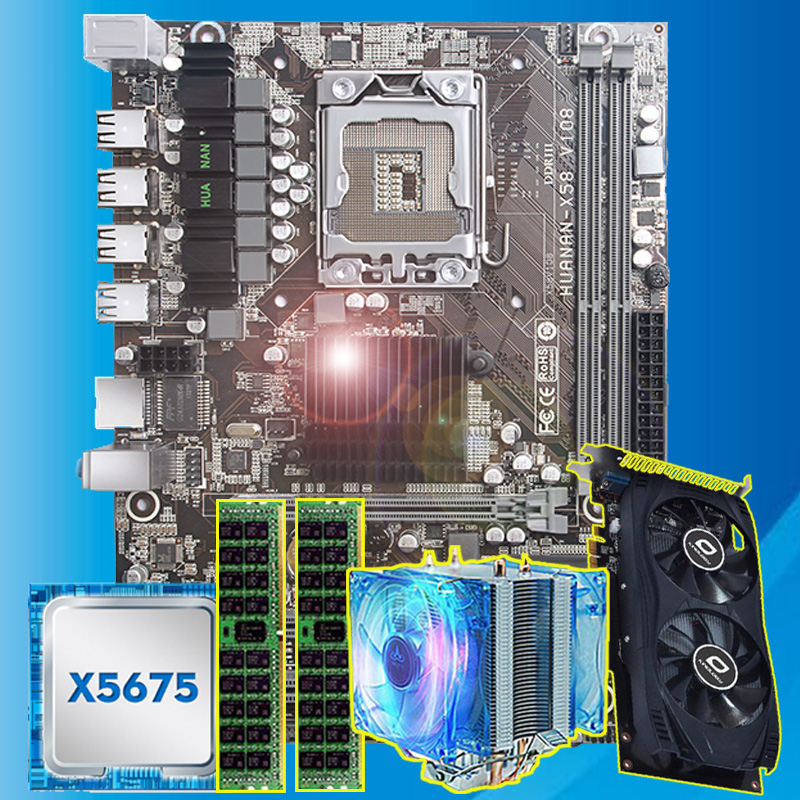Good HUANAN ZHI X58 Motherboard With CPU Intel Xeon X5675 3.06GHz With Cooler GPU GTX750Ti 2G Video Card (2*4G)8G REG ECC Memory