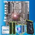 Goede HUANAN ZHI X58 moederbord met CPU Intel Xeon X5675 3.06 GHz met cooler GPU GTX750Ti 2G videokaart (2*4G) 8G REG ECC geheugen