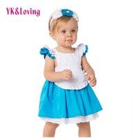 Di alta Qualità Alice Costume Baby Girl Dress 2017 Del Nuovo moda Blu Bianco Partito Increspa i Vestiti 2 Pz Bambini Rifornisce 1-6 anni