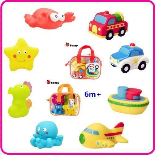 4 Pcs Bonito Borracha Macia Flutuador Sqeeze Som Banho de Lavagem Do Bebê brinquedos ferramenta de pulverização de água Jogar Brinquedos de Animais e vechiles Frete grátis