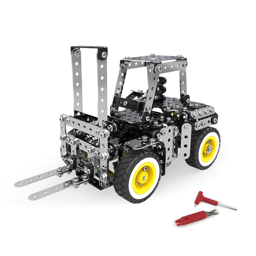 589Pcs/642pcs Gear Manual Drive Forklift Truck Model Building Blocks Brick Set Stainless Steel 3D Metal Puzzle Model Toys