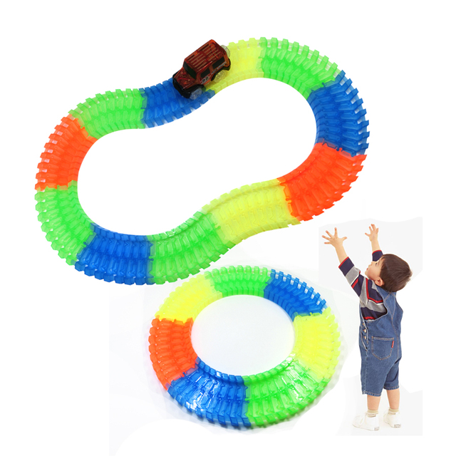 DIY Glow In Dark Track Electric LED Racing Funny Bricks Flexible Flex Rail Car Vehicles Educational Puzzle Toys For Children