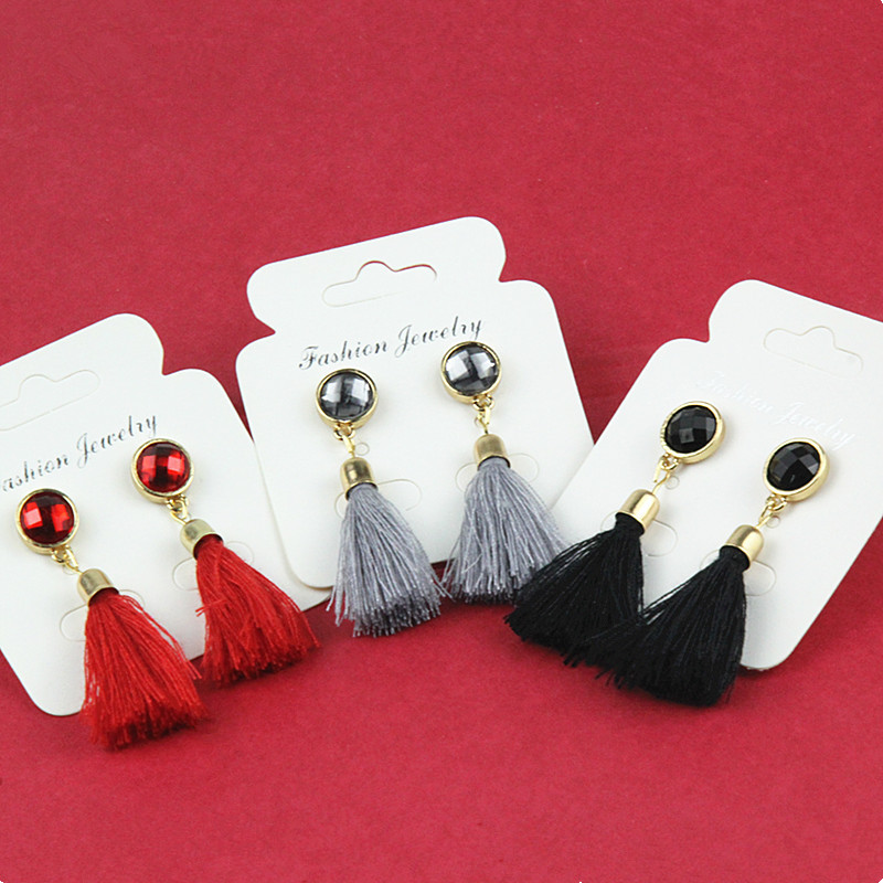 E083 The New Fashion Black Long Tassel Earring For Women Exquisite Crystal Vintage Tassel Earring Elegant Graceful Lady Hot Sale