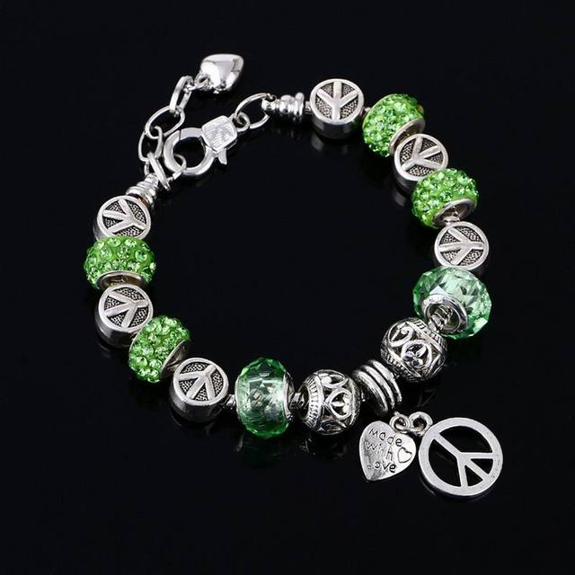 European Crystal Charm Bracelets For Women Green Beads Metal Peace Sign Charms Bangles