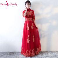 Beauty Emily Red Elegant Mother of the Bride Dress 2017 A Line Half Sleeve Zipper Floor Length Formal Wedding Party Mom Dresses
