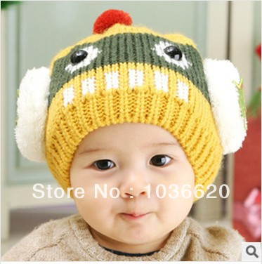 Cute Design Robot infant male   female baby winter hat Children sets  Different colors knitting wool hat winter hats for women 090453a2e4