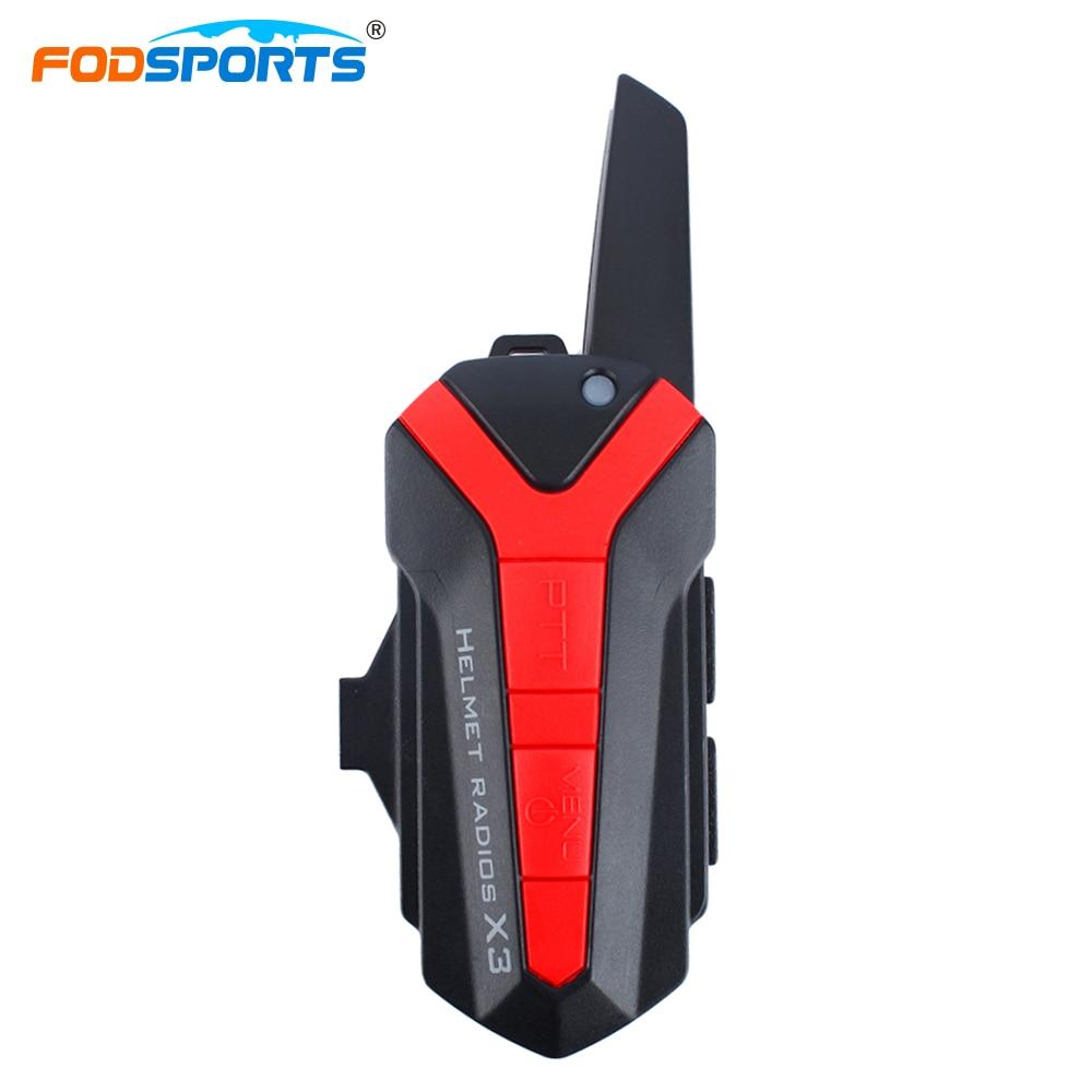Fodsports 2pcs X3 Plus Motorcycle Bluetooth Intercom For Group Talking Moto Bike Helmet Interphone Headsets With PTT Contorl