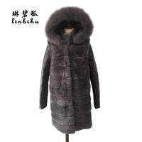 Genuine Rex Rabbit Fur Jacket Real Fox Fur Trim Hood Long Casual Women Fur Parkas Winter Detachable Sleeve Female Furry Vest
