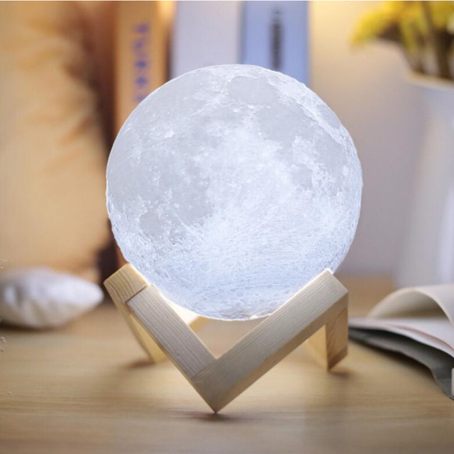 Eycocci 3D Print LED Moon Light Touch Switch LED 8CM 12CM 2 Color Change Touch Switch Bedroom Night Light Home Decor Gift