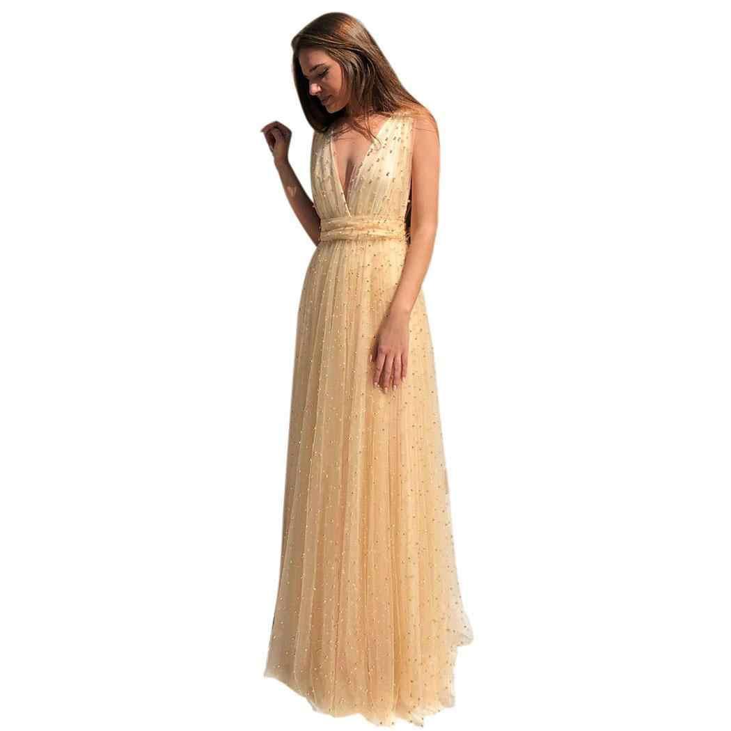 여성 패션 솔리드 딥 v 민소매 공식 가운 파티 롱 드레스