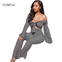 Women Strapless Sexy Black White Striped 2 Two Piece Sets Long Flare Sleeve Off Shoulder Crop