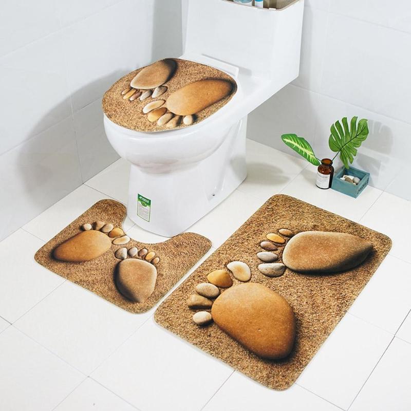 3pcs/set New Bathroom Set Carpet Water Absorbent Non-Slip Pedestal Rug Lid Toilet Cover Bath Mat Dropship