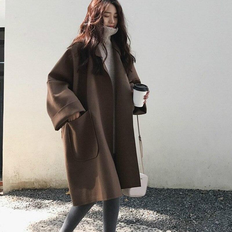 2019 Fall Winter Women Simple Cashmere Look Maxi Long Robe Loose Coat Female Woolen Outerwear Manteau Femme Abrigos Mujer