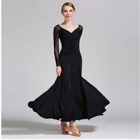 Lady Modern Dance Dress Long Sleeve Perspective National Standard Dance Dress Ballroom Dancing Suit Adult Dance Uniform B 6187