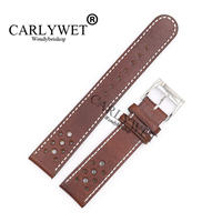 CARLYWET 22mm Wholesale Brown Real Leather Handmade Replacement Thick Vintage Wrist Watch Band Strap Belt For