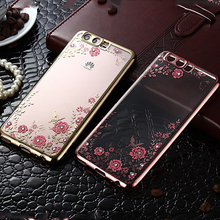 For Huawei P10 Lite Case Flower Silicone Bling Diamond Soft TPU Clear Back Phone Cover Fundas P10Lite Coque Capa