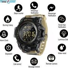 TimeOwner Smart Watch Men Notification Remote Control Pedometer Sport Watch Waterproof Men Wristwatch Stopwatch Call SMS Remind