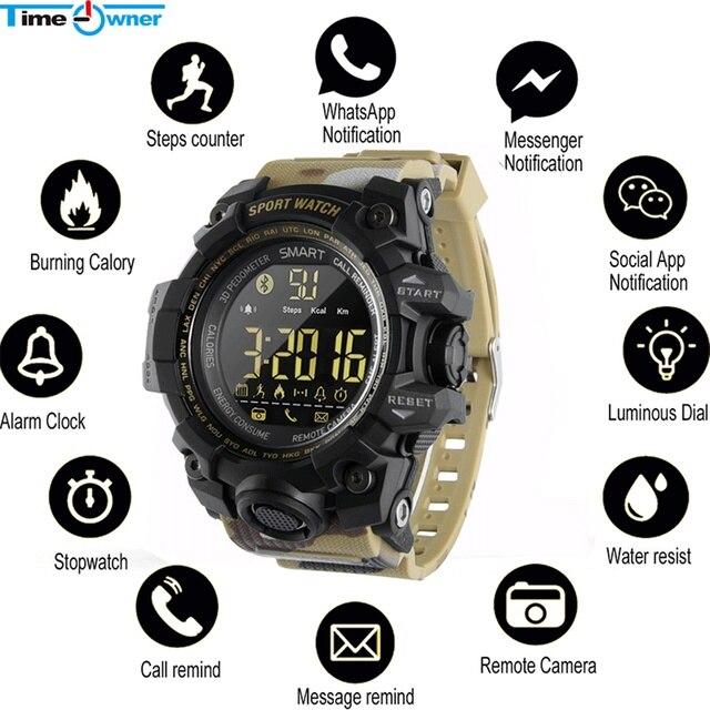 TimeOwner ساعة ذكية الرجال الإخطار عن التحكم مقياس الخطو الرياضة ووتش للماء الرجال ساعة اليد ساعة توقيت مكالمة SMS تذكير