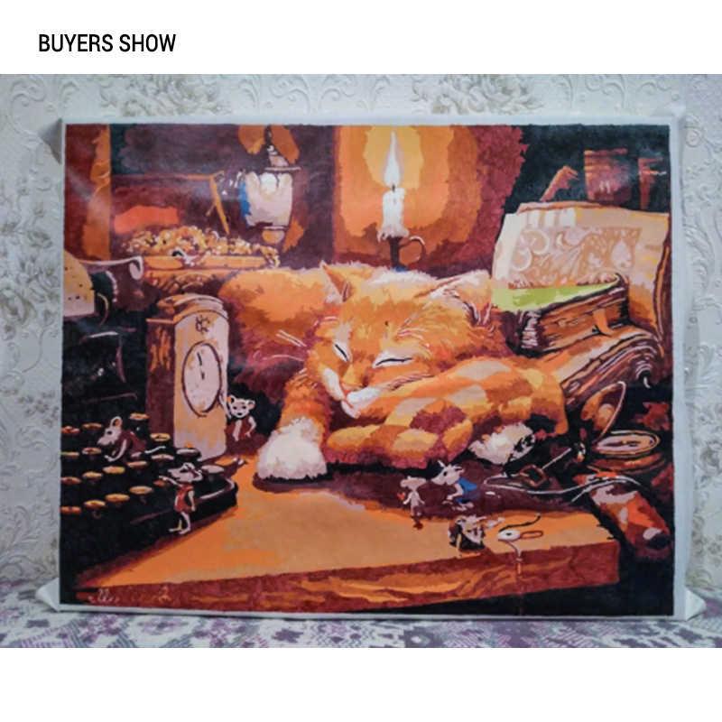 선물 40x50cm를 들어 숫자에 의해 숫자 벽 아트 사진 홈 장식 아크릴 페인트 CHENISTORY 틀없는 잠자는 고양이 DIY 회화
