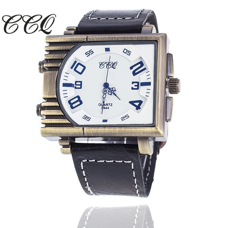 CCQ Brand High Quality Fashion Casual Quartz Relogio Masculino Leather Big Dial Men Military Watch Gift