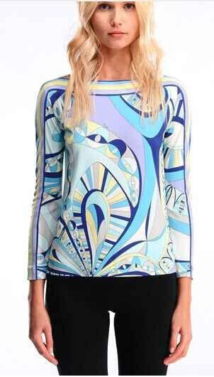 Summer latest Italian fashion color matching mould modern beautiful T shirt elastic SILK JERSEY