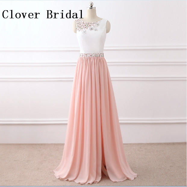 Vestido De Festa Scoop Evening Dress Long Chiffon Sash Beaded A Line Formal Party Gown Robe Soiree Longue Femme