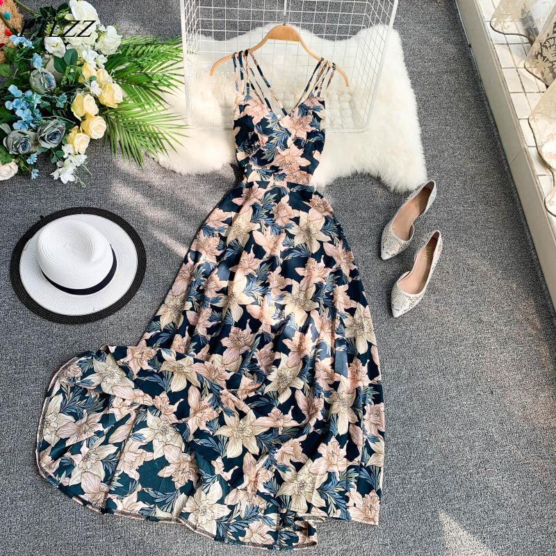 FTLZZ 2020 Women Floral Print Dress Summer Sexy V-neck Backless Long Dresses Female Elegant Bohemian Party Dress Vestido 4