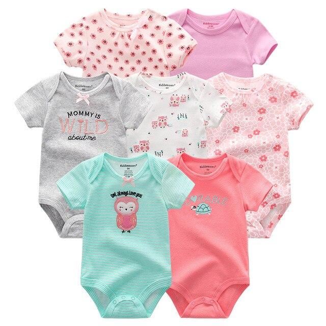 97ec24e66 7 unids/lote alta calidad ropa de bebé personaje ropa corta conjunto recién  nacido verano