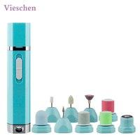 Vieschen 9em1 Manicure Elétrica Pedicure Set Prego Polidor de Buffer Lixa de Unha Profissional Sistema de Géis de Remoção de Calos Barbeador Senhora