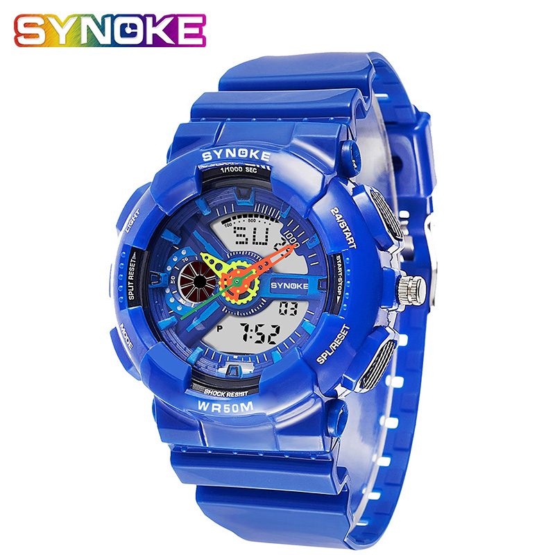 SYNOKE Waterproof Fashion Kid's Watches Children's Dual Time Display Electronic Watch Male Female Students Sports Age Girl Watch
