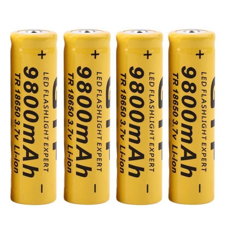4 unids/lote alta calidad 18650 mAh 3,7 V 9800 baterías de iones de litio batería recargable para linterna antorcha envío gratis