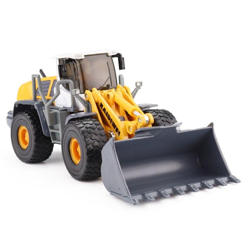 Alliage Moulé Sous Pression Pelle Chargeur 1:50 4 Chargeuse sur pneus Pull Back/ABS Bulldozer Construction Solide Camion Modèle Pour Enfants Passe-Temps jouets