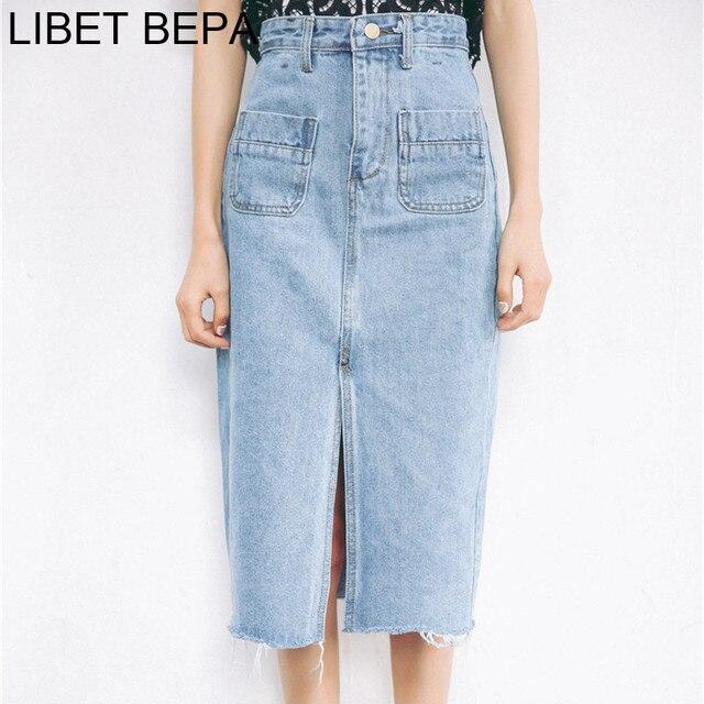 51283235b93cb1 New 2018 Women Midi Casual Fashion Denim Skirt High Waist Pockets Pencil  Split Skirt Elegant Bodycon Femininas SK8171