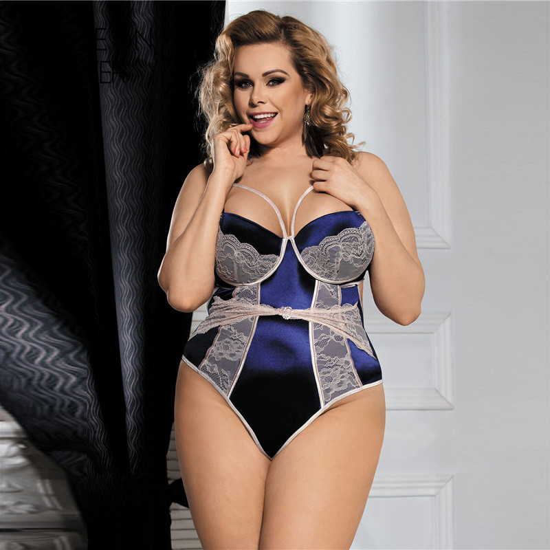 Comeonlover Navy blue lace patchwork sexy bodysuit backless strap 3XL 5XL plus size lace teddy RL80188