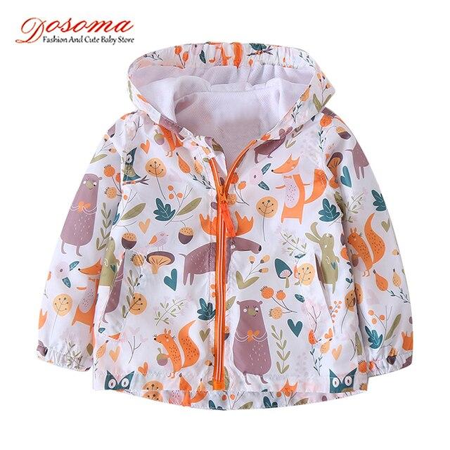 Dosoma 2018 весенние куртки и пальто для девочек Обувь для девочек куртка с принтом маленьких Обувь для девочек Пальто для будущих мам с капюшоном детская верхняя одежда с длинными рукавами 2-6 лет