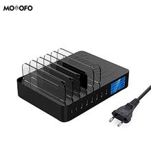 Qi Беспроводное зарядное устройство 8 портов Смарт USB зарядное устройство 5V8A 40 Вт ЖК-дисплей Настольный держатель для iPhone samsung huawei адаптер переменного тока