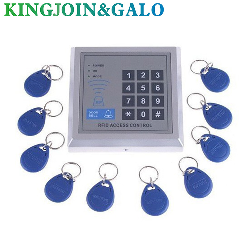 RFID Proximity Entry Door Lock Access Control System with 10 Key Fobs 125khz rfid standalone access control keypad 125khz card reader door lock with 10 proximity key fobs for door security system k2000