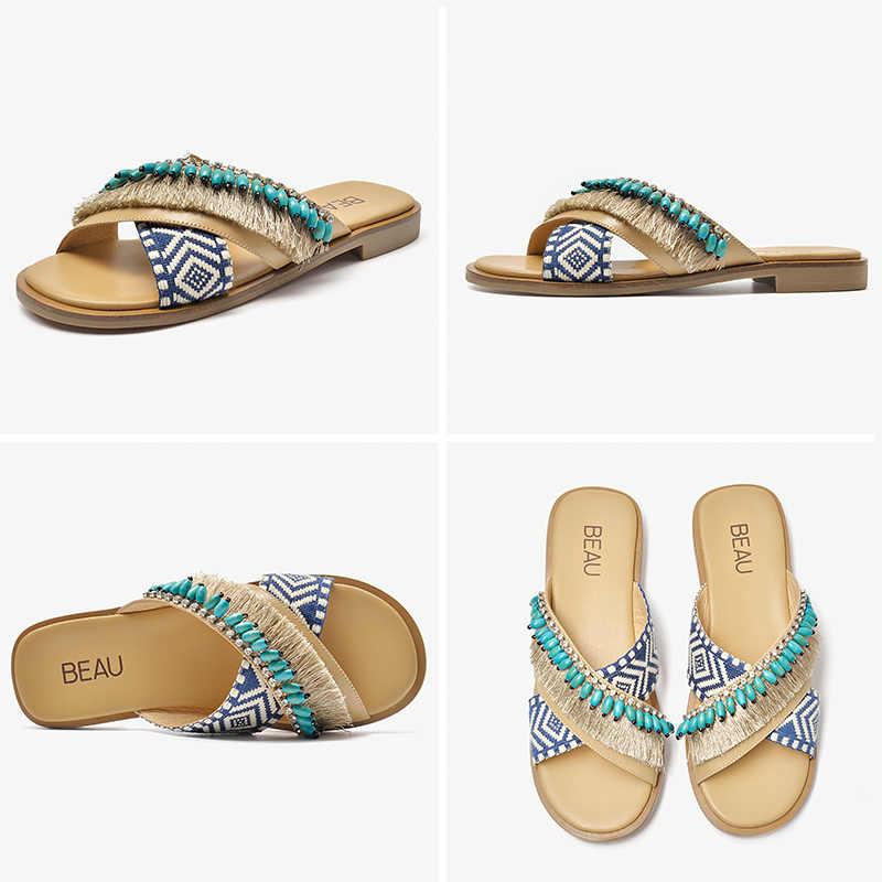 BeauToday Flache Hausschuhe Frauen Schaffell Echtes Leder Mischfarben Fringe Perlen Flache Rutschen Dame Sommer Schuhe Handgemachte 36096