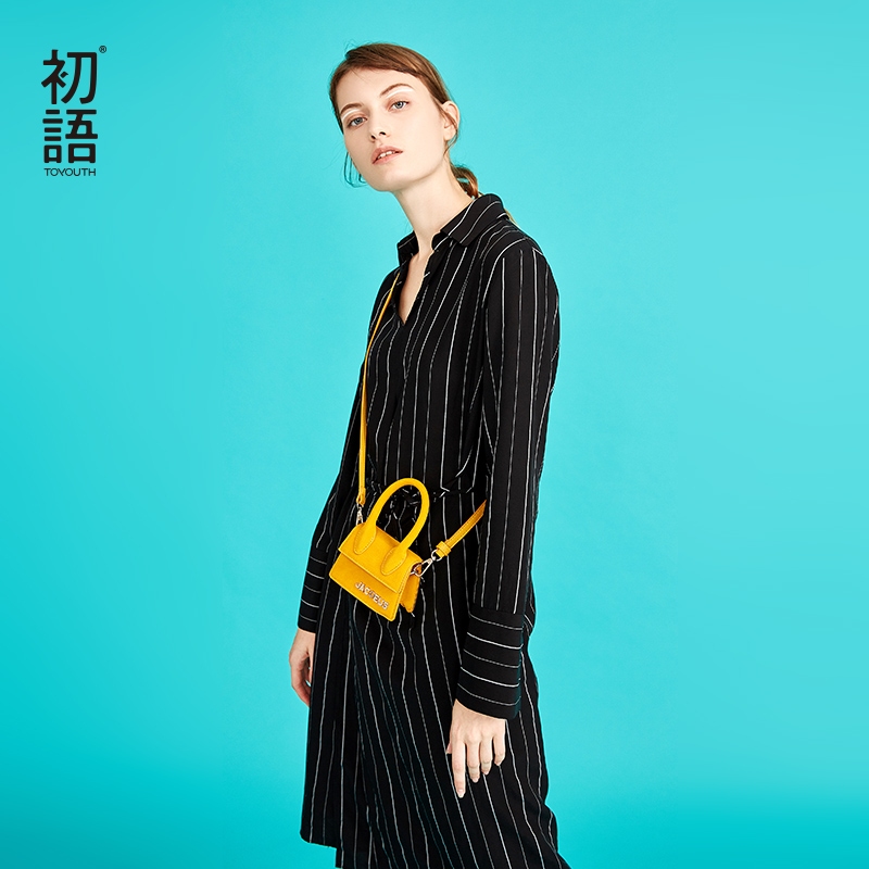 Toyouth haut de gamme chemises robes 2019 automne lâche rayé Bandage robe Midi femmes mode col rabattu robes Mujer-in Robes from Mode Femme et Accessoires on AliExpress - 11.11_Double 11_Singles' Day 1