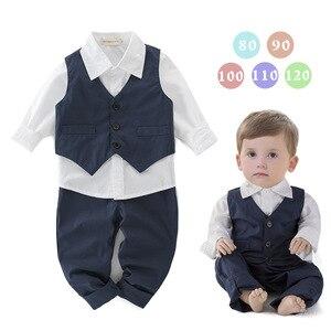 Image 2 - Neue Stil Kinder Kleidung Sets Jungen Kleidung Jungen Hemd + Weste + Hosen 3 stücke Jungen Gentleman Weste Kinder Kleidung sets 5 sätze/los