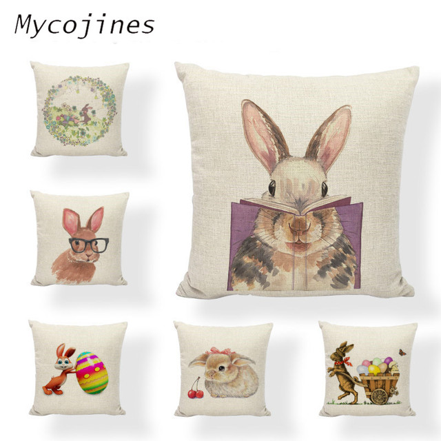 Easter Bunny Pattern Cushion cover Books Egg Baskets Glasses Single-sided Printing Home Sofa Bedroom Decorative Throw Pillowcase