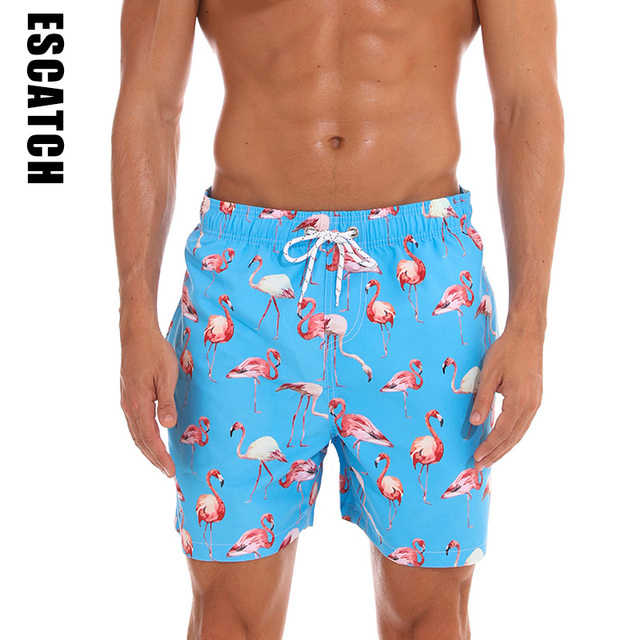 6ad6be7c78 Escatch New Quick Dry Summer Shorts Mens Print Beach Board Shorts Surf  Siwmwear Bermudas Swim For Men Flamingo Print Board Short