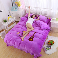 Bedding Various sizes optional Comfortable soft Simple and generous pattern 4Pcs (bed pillowcase quilt cover)