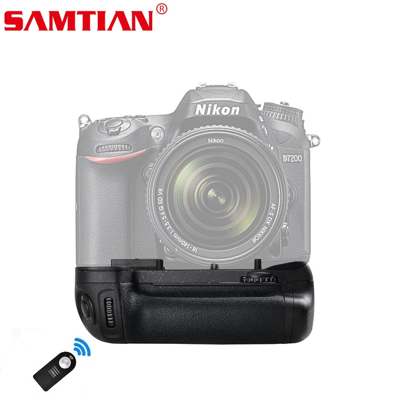 SAMTIAN Camera Battery Grip Holder For NIKON D7100 D7200 DSLR Work With EN EL15 Battery Or 6x AA Batteries Gift Remote Control