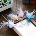 6PCS white silk floral hair sticks fashion feather hairpins U shape girl hair jewelry party prom bridal hair accessories qm0054