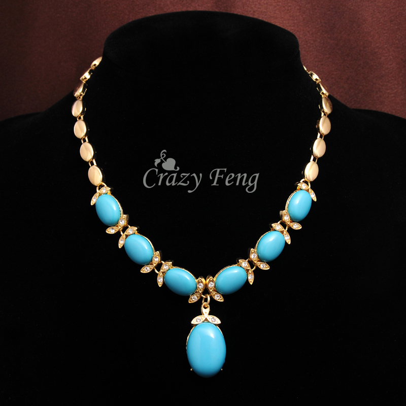 New Arrive Zinc Alloy Jewelry Blue Stone Crystal Necklace Bracelet Earrings Ring Gold-color Jewelry Sets For Women Dropshipping
